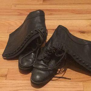 Knee high combat boots